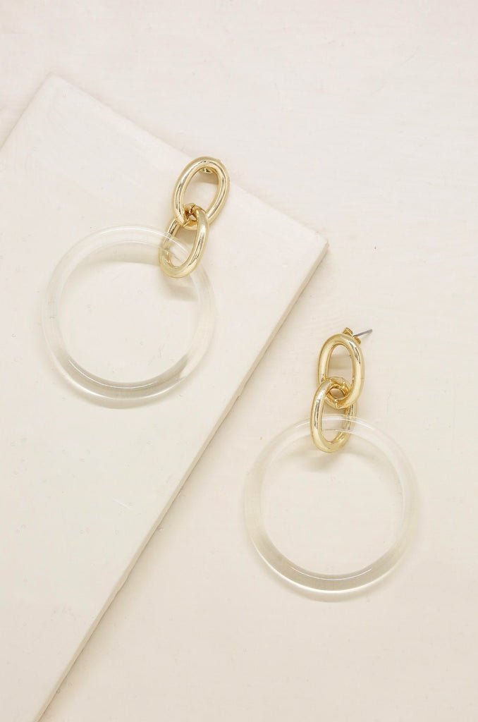 Be True Earrings in Clear and Gold