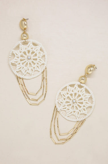Dream Catcher Earrings in Cream and Gold Jewelry Etikka