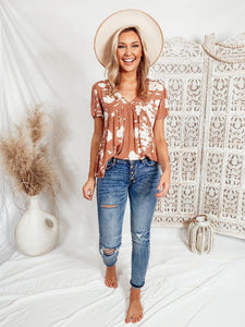 Kinley Floral Peach Top Tops Final Touch