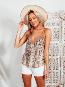 Snake And Lace Tank - Nude Tops Lovestitch