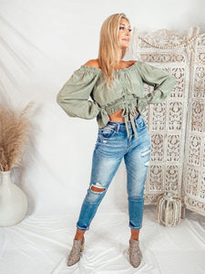 Aiden Ruched Crop Top - Sage Tops Illa illa
