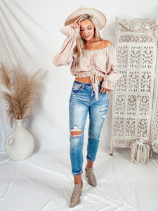 Aiden Ruched Crop Top - Blush Tops Illa illa