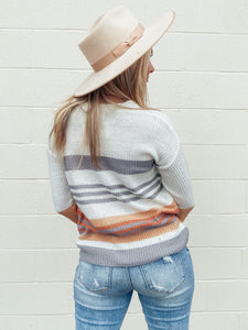 Adella Peach Fall Stripes Sweater Process Be Cool