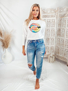 Rock Star Tie Dye Lips Tops LE LIS