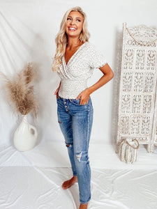 Calla Smocked Waist Grey Top Tops Final Touch