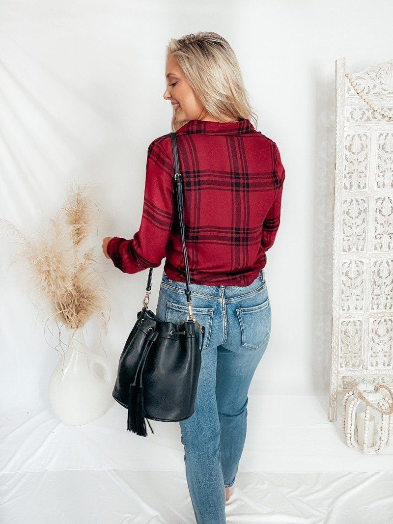 Houston Plaid Tie Top Winter Blu Pepper