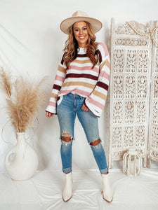 Days In Albany Pink Stripe Sweater Sweaters Lily Clothing