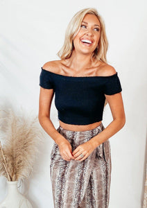 Moon Child Off-the-Shoulder Cropped Top Tops Sage the label