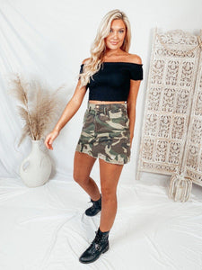 Remi Distressed Camo Skirt Skirts Peach Love