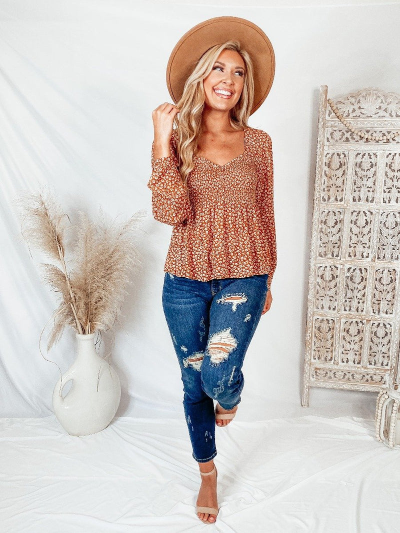 Fall Florals Smocked Top Tops Hem and Thread