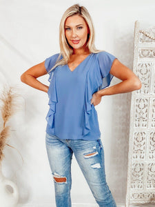 Simply Irresistible Ruffle Top - Blue Tops Naked Zebra