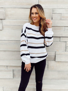 Trendsetter Striped White Sweater Sweaters Lily Clothing