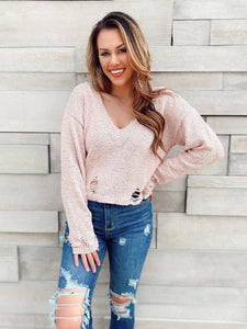 Blushing Distressed Sweater Sweaters LE LIS