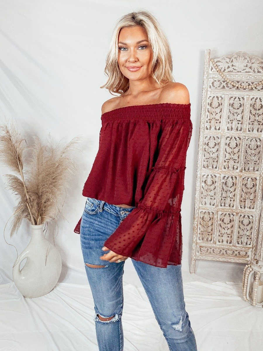Willow Dot Crimson Top Tops Wishlist