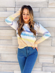 Cali White Tie Dye Sweater Sweaters LE LIS