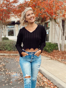 Sweet Release Cropped Sweater - Black Sweaters LE LIS