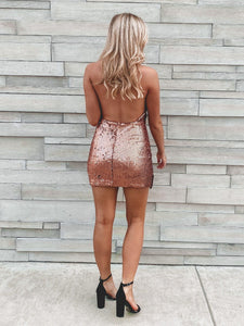 Sparkles Only For Tonight Dress - Rose Gold Dresses Do + Be