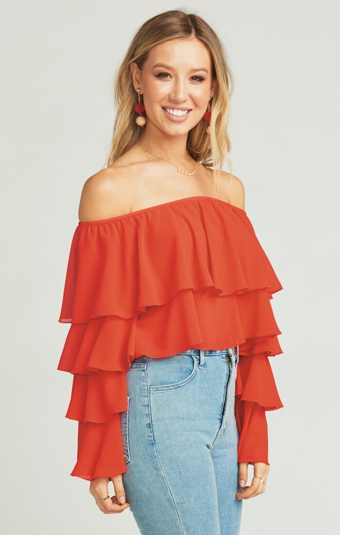 Show Me Your Mumu Copacabana Crop Top Tomato Red Chiffon Tops Show Me Your Mumu
