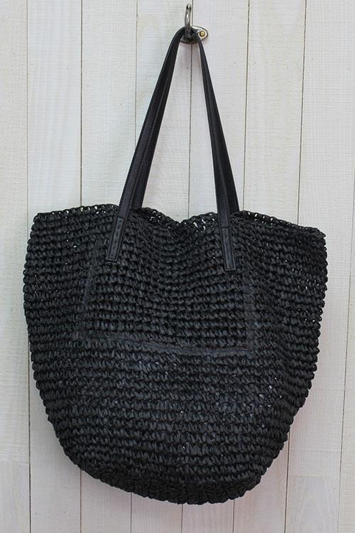 Raffia Bucket Black Bag