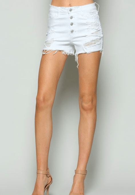 Kaleigh High Waisted White Denim Shorts