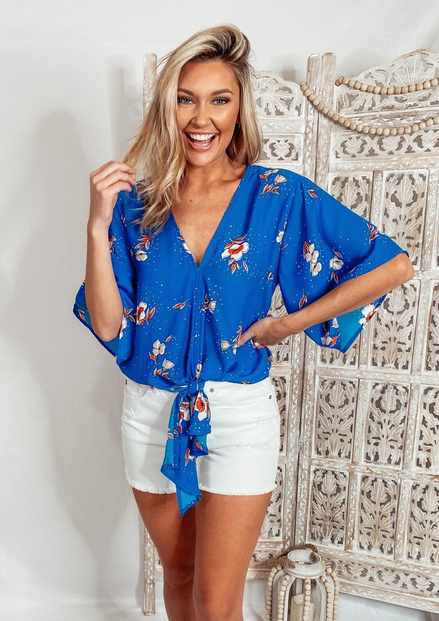 Cornflower Blue Tie Top Tops Lovestitch