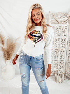 Taste The Rainbow Leopard Lip Sweater Sweaters LE LIS