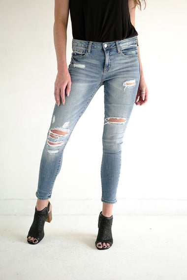 Slashed at the Ankle Skinny Jeans Vervet 24 Denim