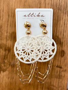 Dream Catcher Earrings in Cream and Gold