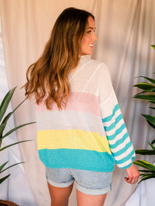 Colors of Spring Green Stripe Sweater