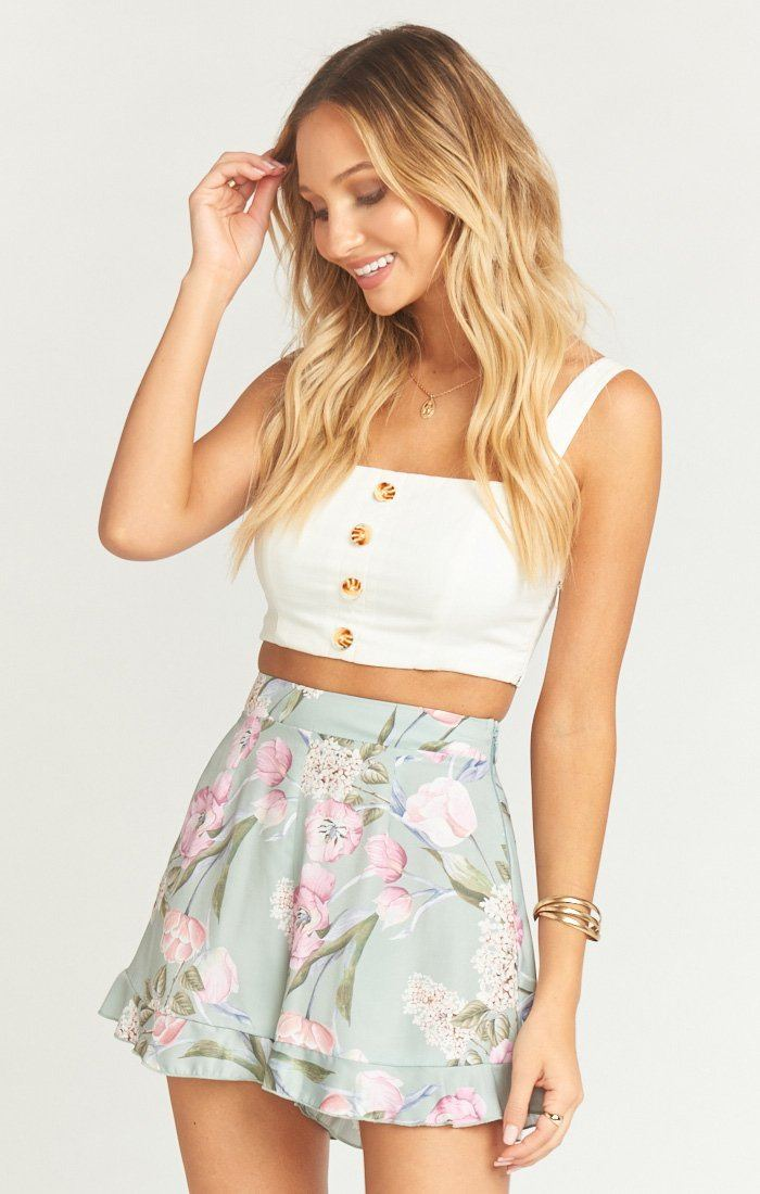 Show Me Your Mumu Bobbi Shorts - Primavera Floral Knit