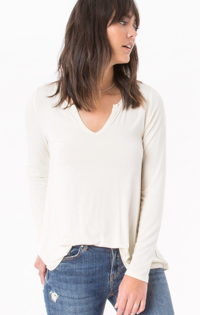 Z Supply Sleek Ivory Jersey Long Sleeve