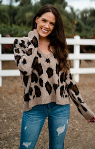 Miley Brown Leopard Sweater Sweaters Olivaceous