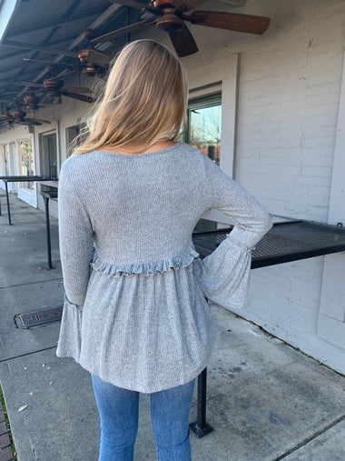 Bell Sleeve Gray Knit Top Tops Peach Love