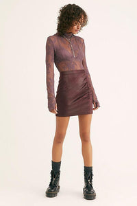 Free People Rumi Ruched Wine Mini Skirt Skirts Free People