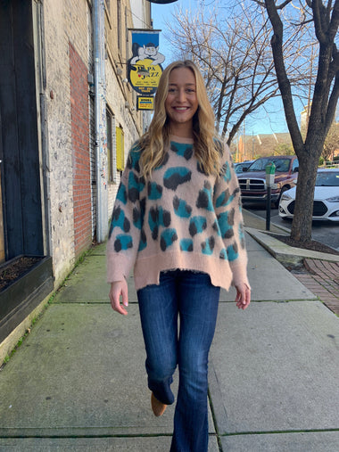 Jade Leopard Cozy Sweater Sweaters andthewhy