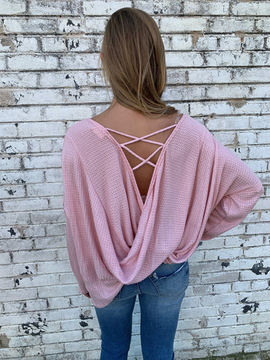 Lace Up Pink Waffle Knit Top Tops Peach Love