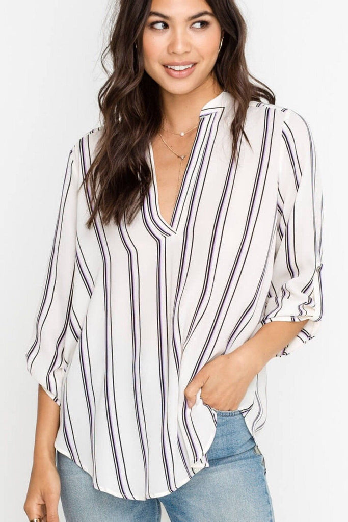 Serious About It Ivory Stripe Top
