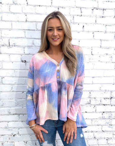 Tie Dye Bubble Swing Top Tops Peach Love
