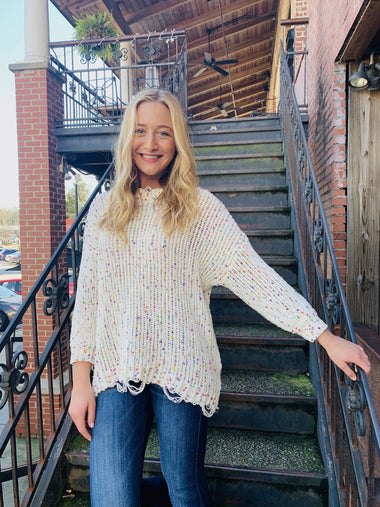 Bianca Popcorn Distressed Oversize Sweaters andthewhy