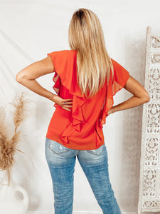 Simply Irresistible Ruffle Top - Orange Tops Naked Zebra