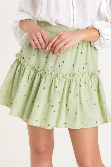 Color Me Mint Eyelet Skirt Skirts Lush