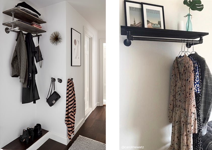 Rackbuddy Marlow wall-mounted clothes rack in water pipes with top shelf