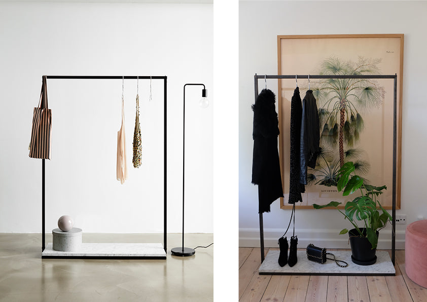 RackBuddy Claude Frame collection- beautiful clothes rack with iron frame and marble-look bottom