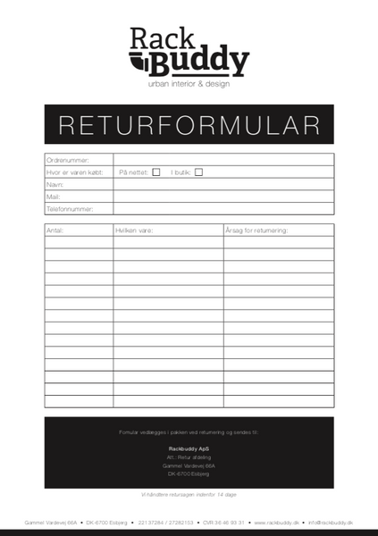 Returformular RackBuddy