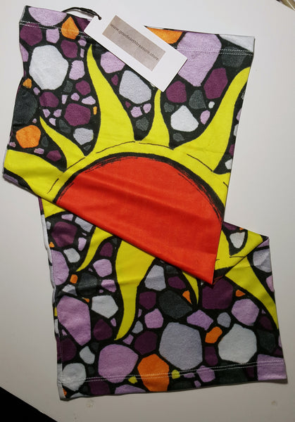 Sun with Purple and Gray Background neck gaiter