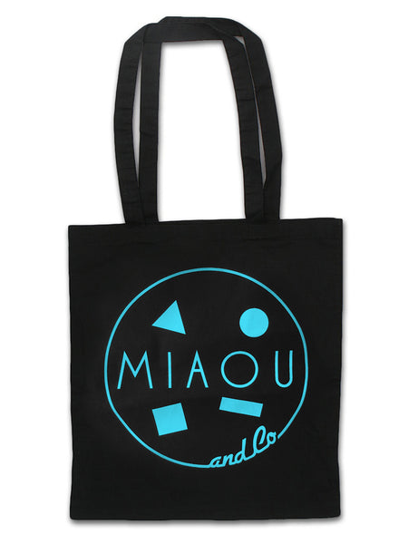 80s Surf Logo / 100% Cotton Canvas Tote / Seaside Aqua on Black