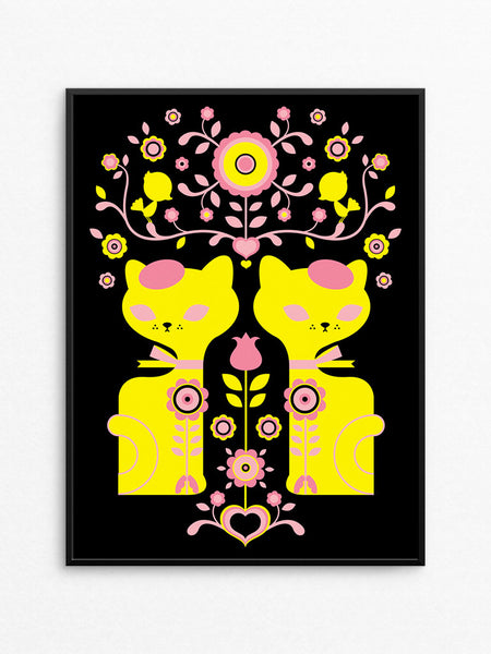 Double Dutch Cats Silkscreen Print / Sunrise Pink and Yellow