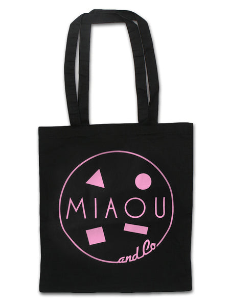80s Surf Logo / 100% Cotton Canvas Tote / Sunrise Pink on Black