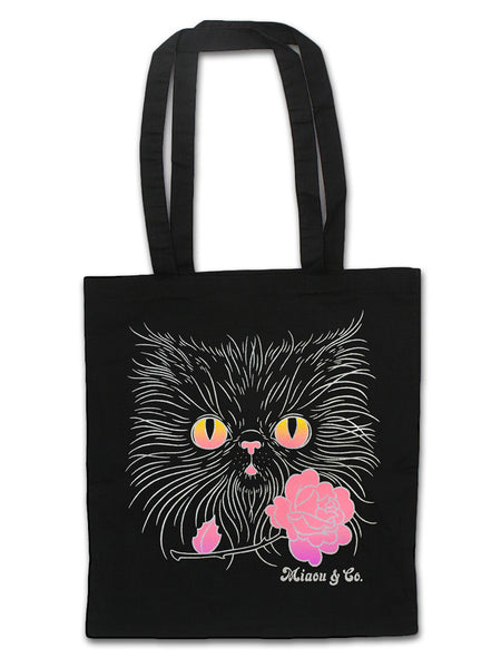 Silver Gradient 70s Cat Face / 100% Cotton Tote