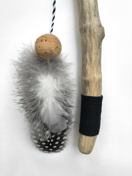 Driftwood Feather Wand Cat Toy / Minimalist Black and White / Pearl Guinea Hen